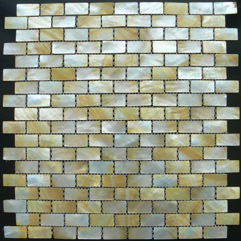 Gold Mother of Pearl Brick Shell Mosaic Sheet 10x20mm, 1 tile